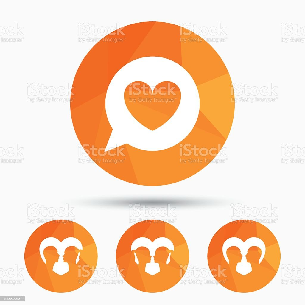 Couple love icon. Lesbian and Gay lovers signs. vector art illustration