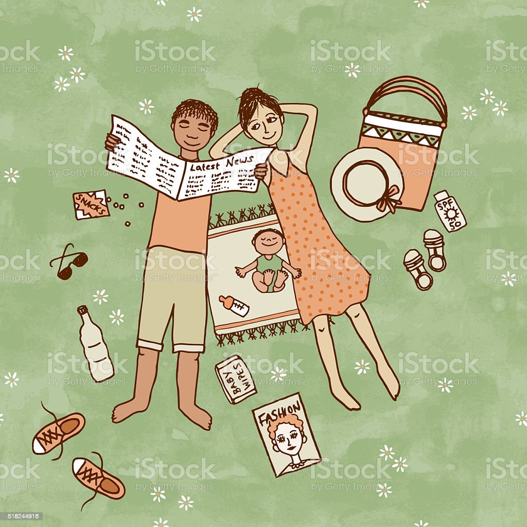 Couple lying in the park with their little baby vector art illustration