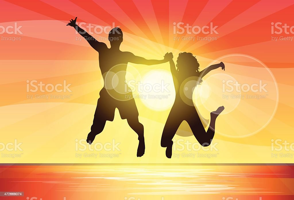 Couple Man and Woman Holding Hands Jump Silhouette vector art illustration