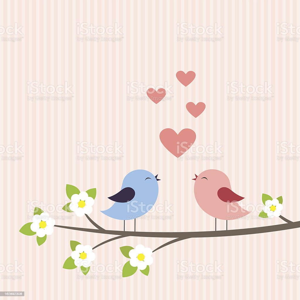 Couple of birds in Love vector art illustration