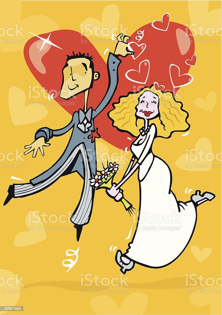 Pareja de novios enamorados preparados para casarse royalty-free stock vector art
