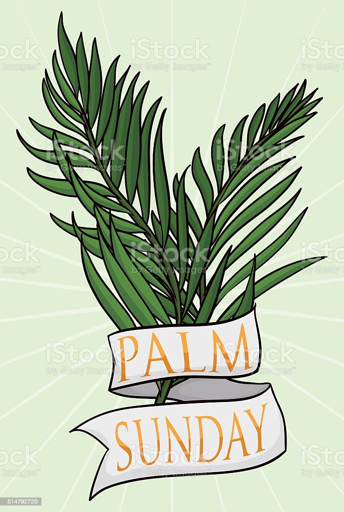 Couple of Branches with Ribbon for Palm Sunday vector art illustration