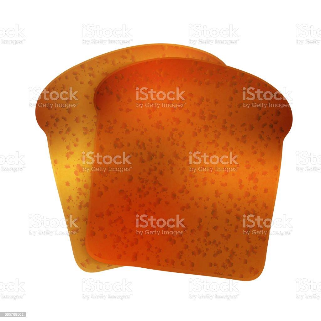 Couple of bright realistic tasty toasts on white vector art illustration