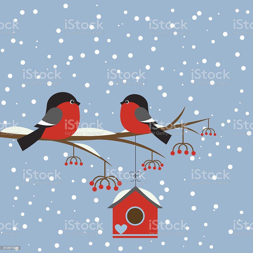 Couple of bullfinchs on branch rowan with birdhouse vector art illustration