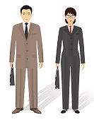 Couple of business asian man and woman. Business teamwork concept.