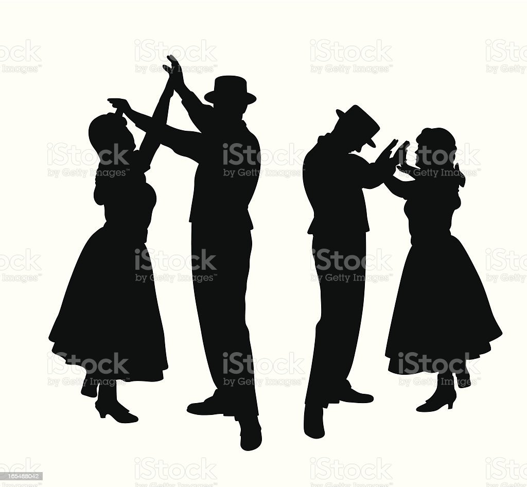 Couple Of Dance Vector Silhouette royalty-free stock vector art