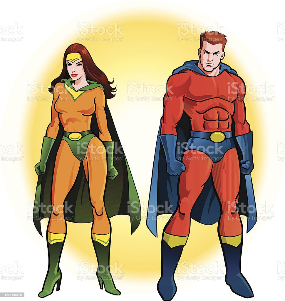 Couple Of Super Heroes royalty-free stock vector art