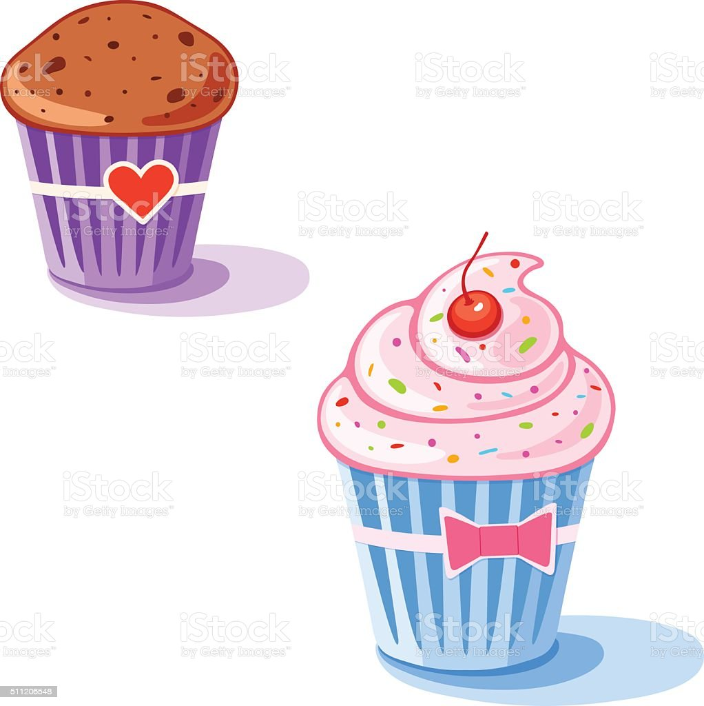 Couple of sweet cupcakes vector art illustration