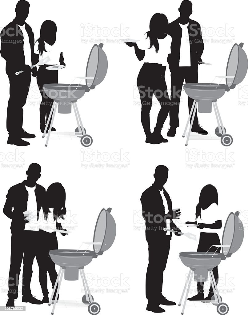 Couple on a barbecue vector art illustration