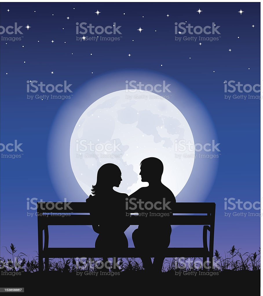 Couple on a bench. royalty-free stock vector art