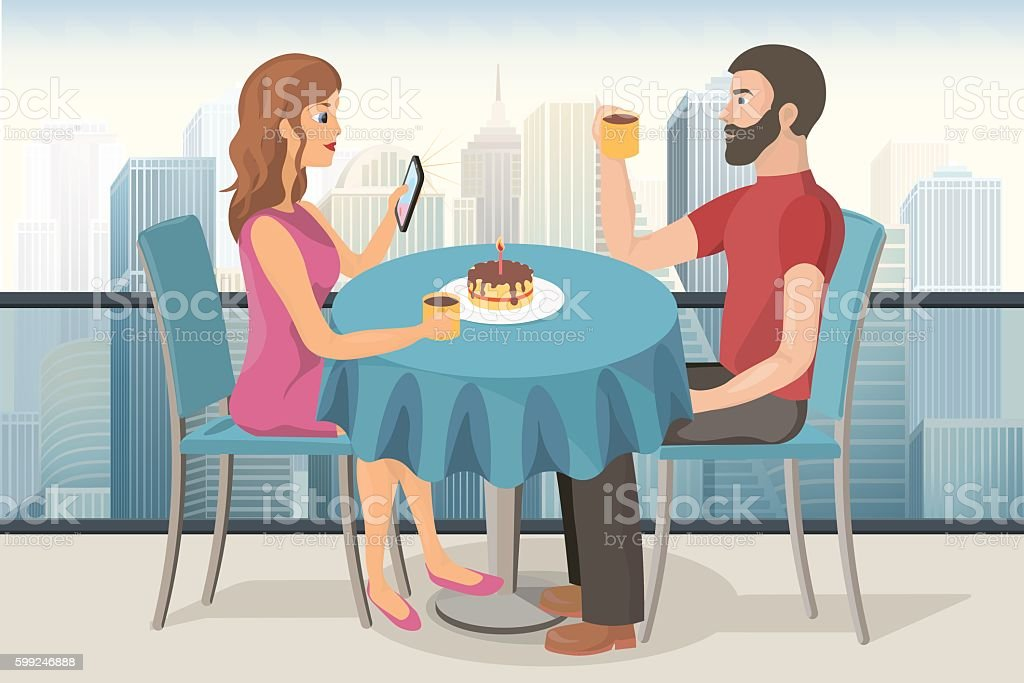 Couple on a date in roof top cafe vector art illustration
