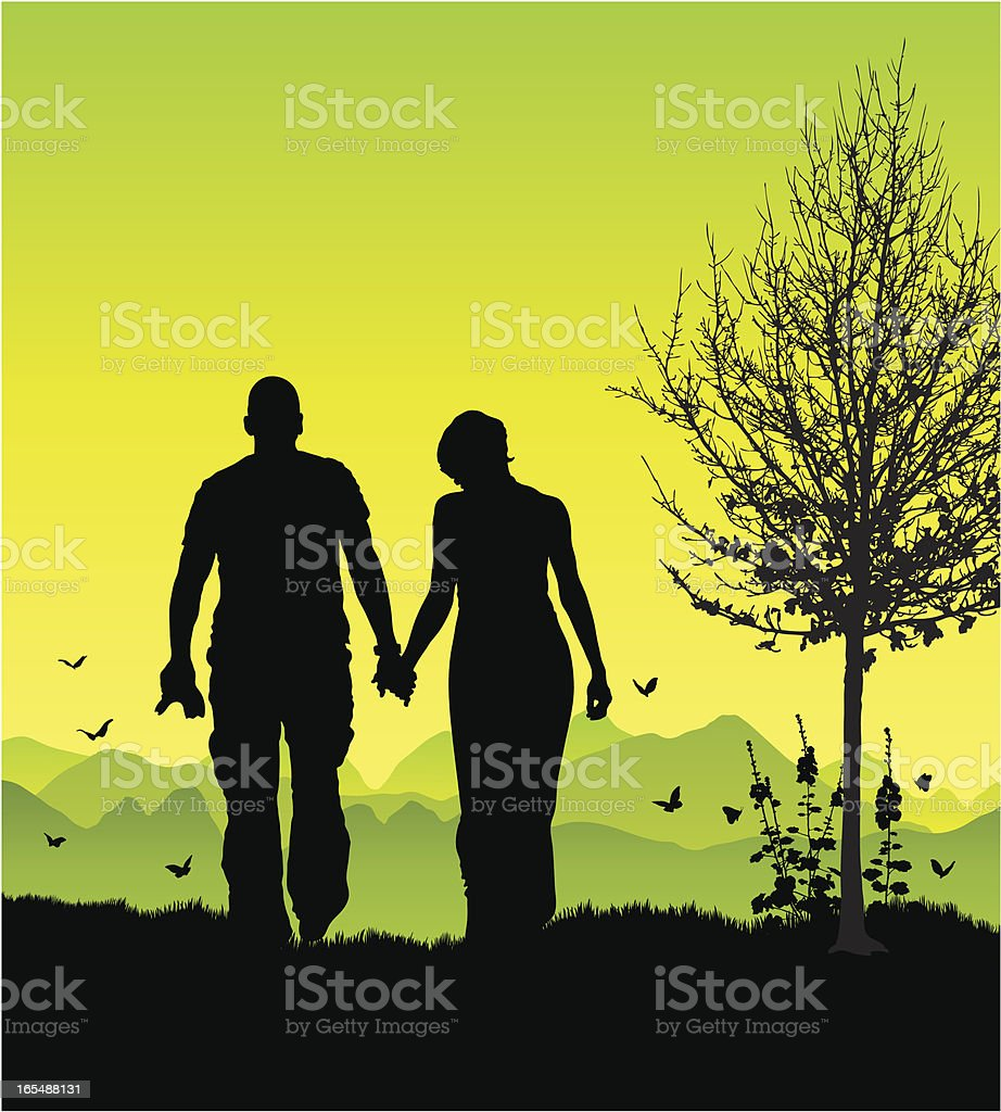 Couple on a romantic walk royalty-free stock vector art