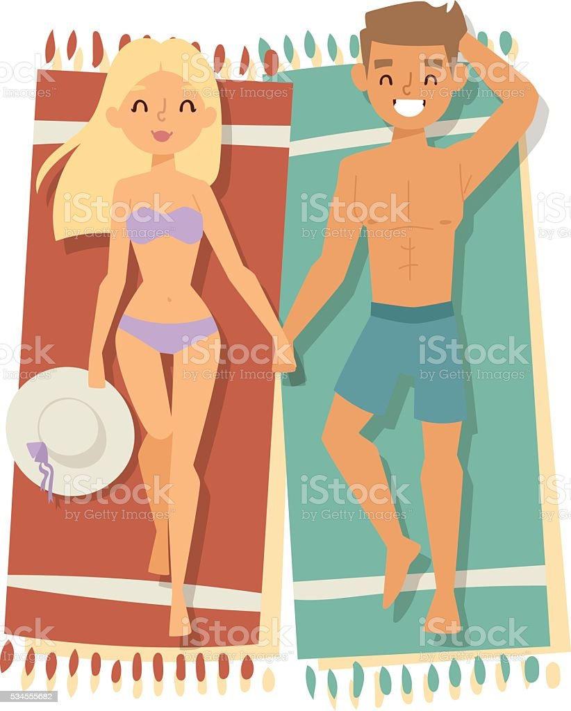 Couple on beach vector illustration. vector art illustration