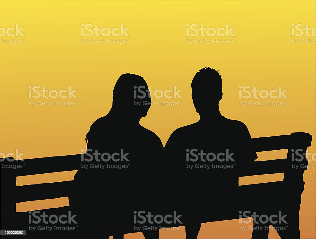 Couple on bench royalty-free stock vector art