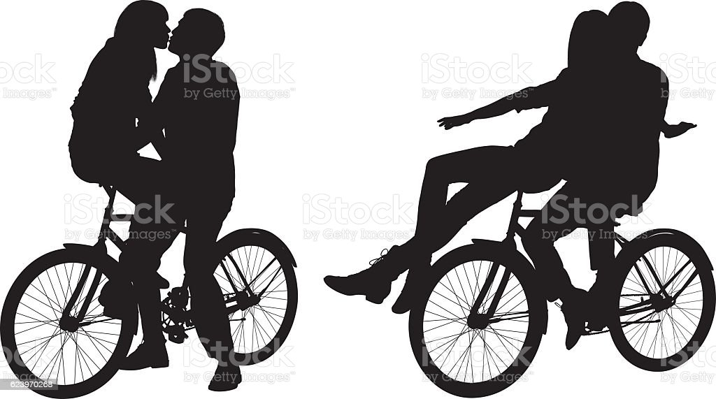 Couple on bicycle and kissing vector art illustration