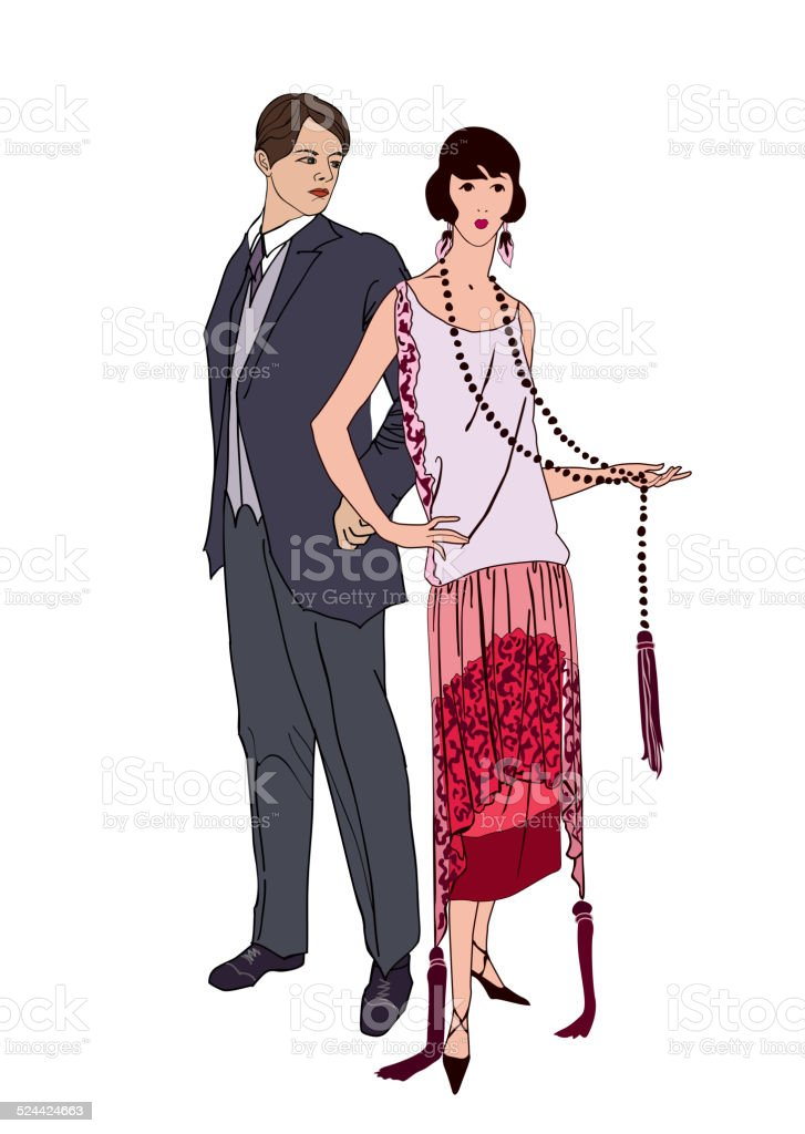 Couple on cocktail party. Man, woman in vintage style 1920's. vector art illustration