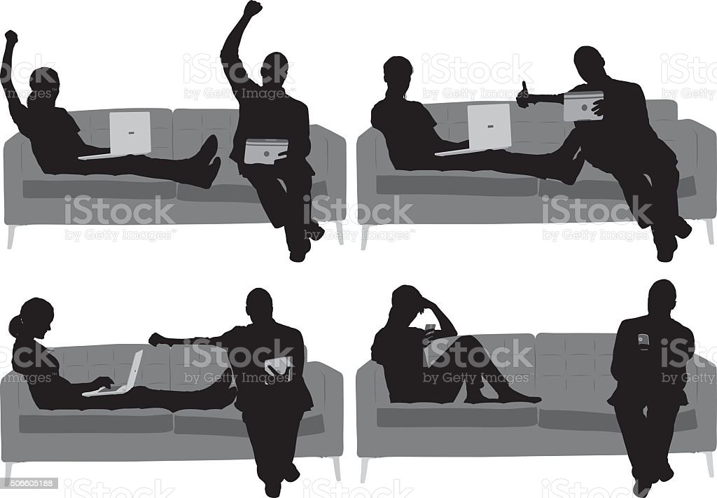 Couple on couch and in actions with laptop vector art illustration