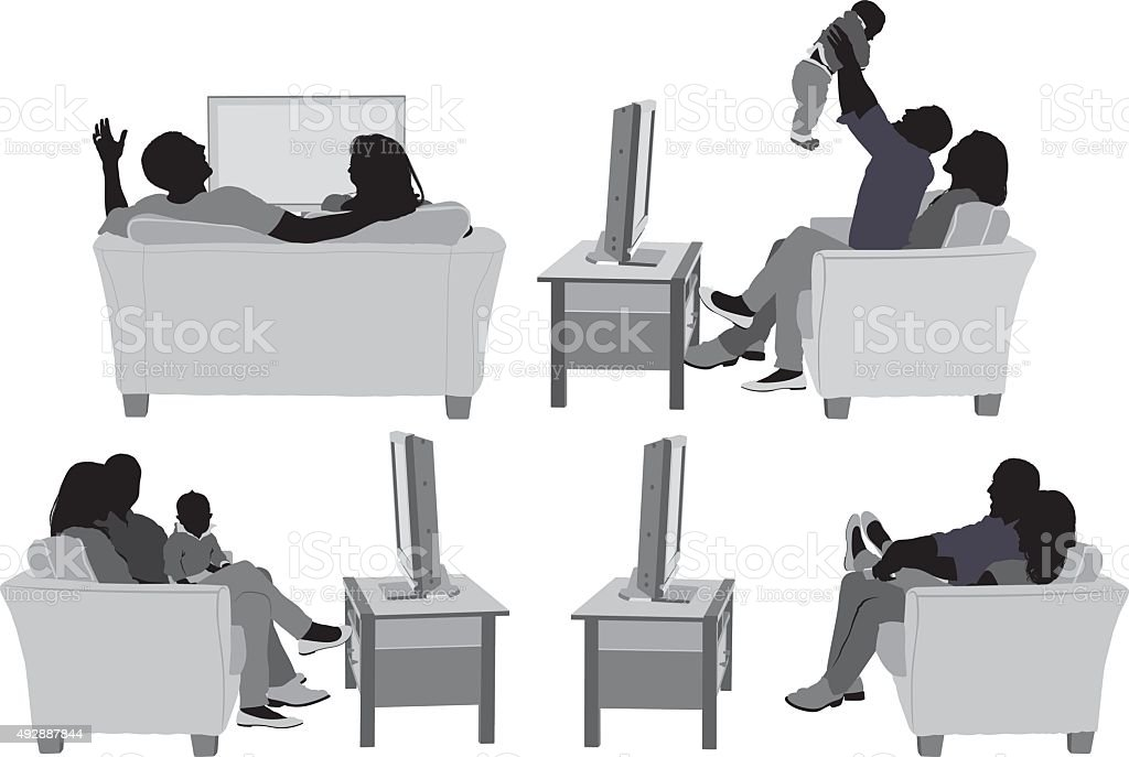 Couple on couch and in various actions vector art illustration