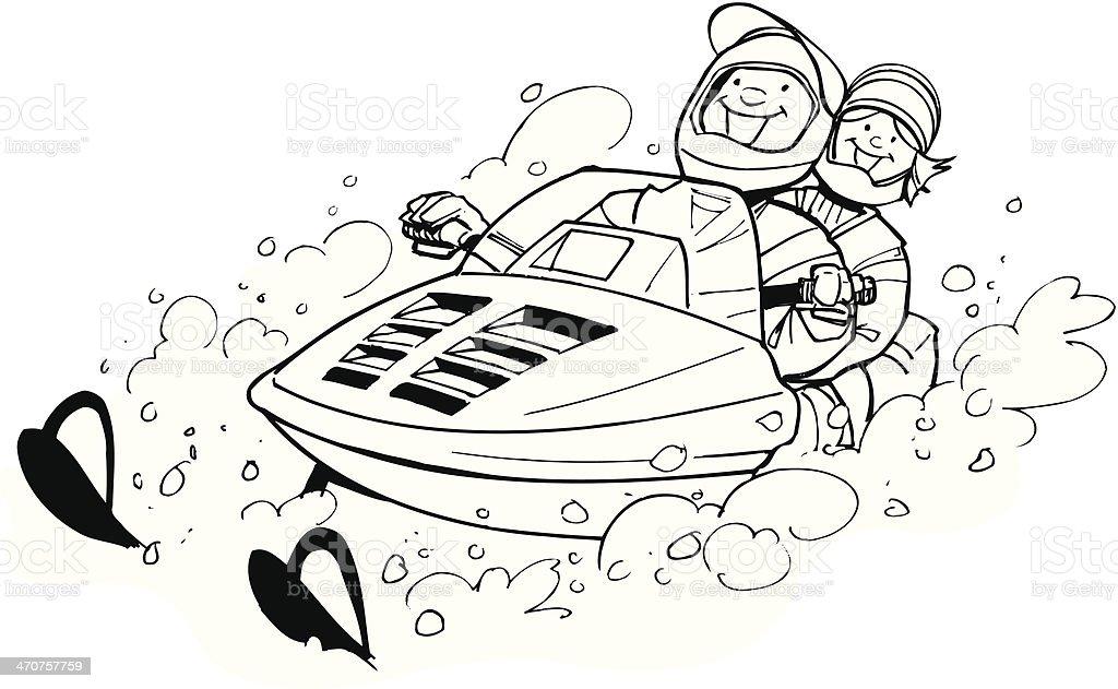 Couple On Snowmobile vector art illustration