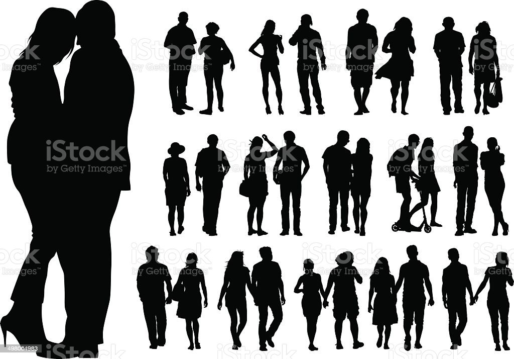 Couple on street vector art illustration