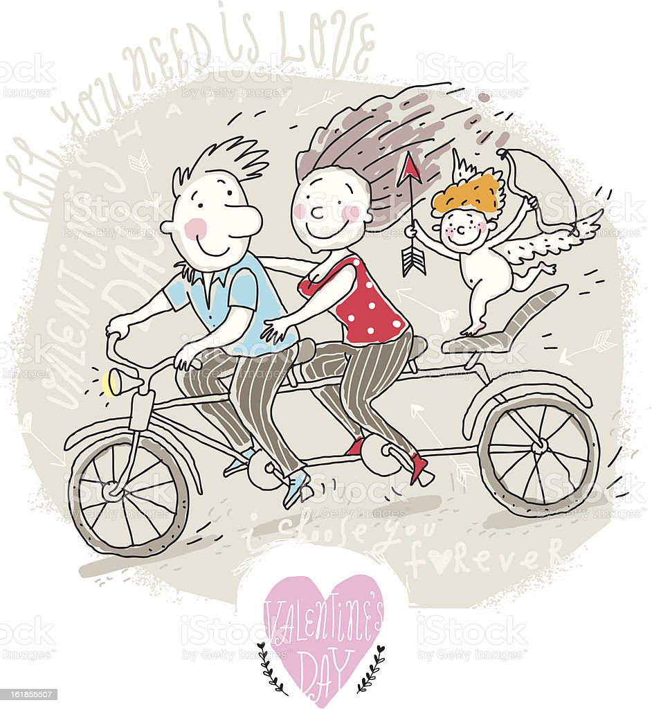 Couple on Tandem royalty-free stock vector art