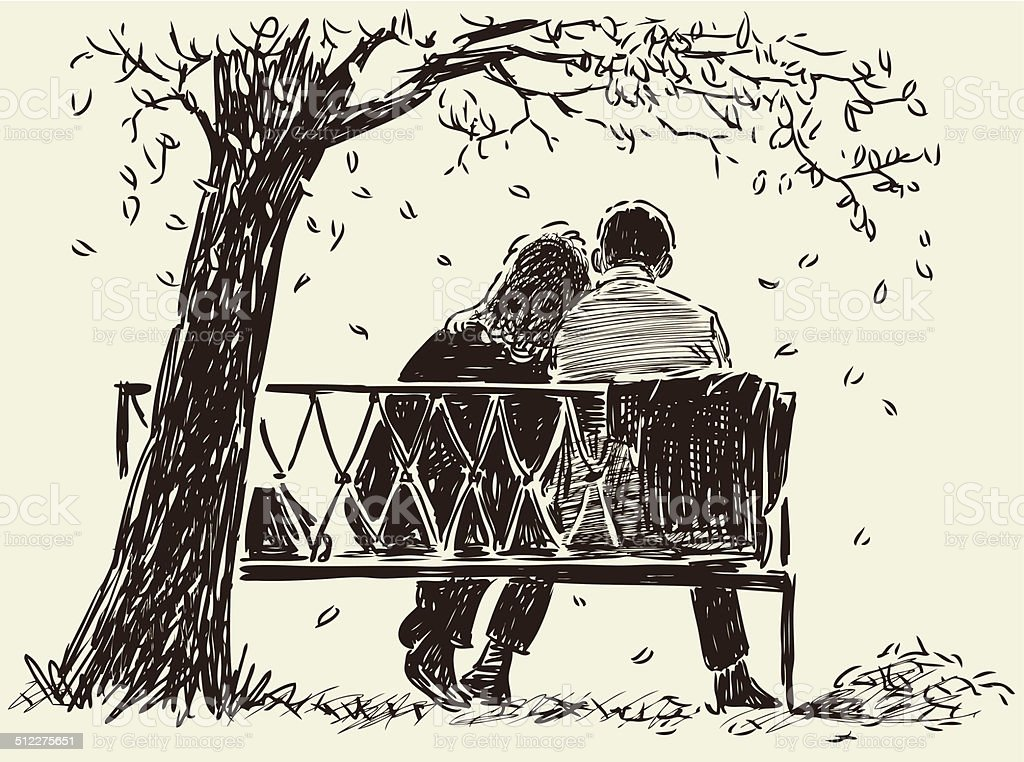 couple on the bench vector art illustration