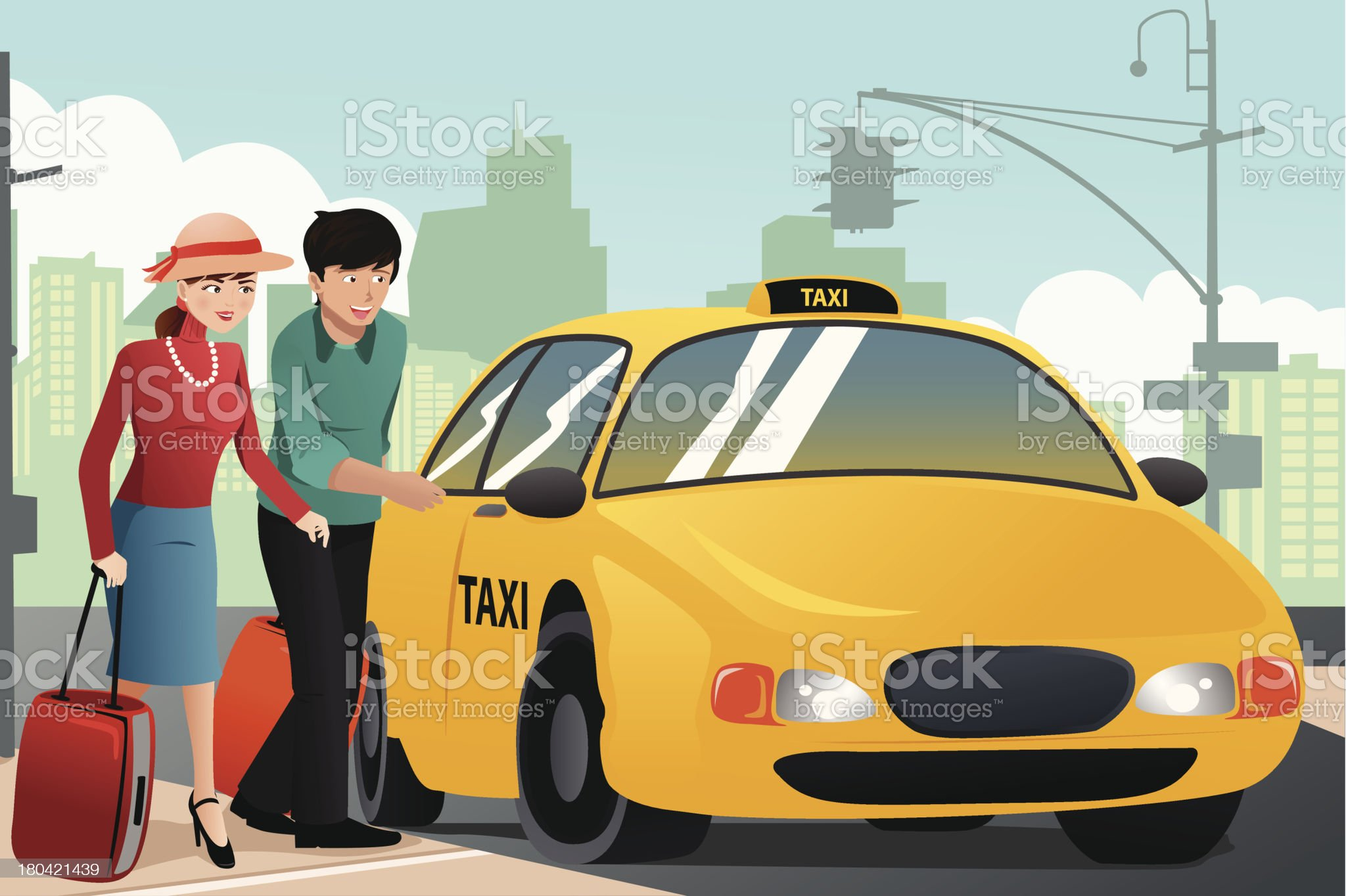Couple on vacation calling a taxi royalty-free stock vector art