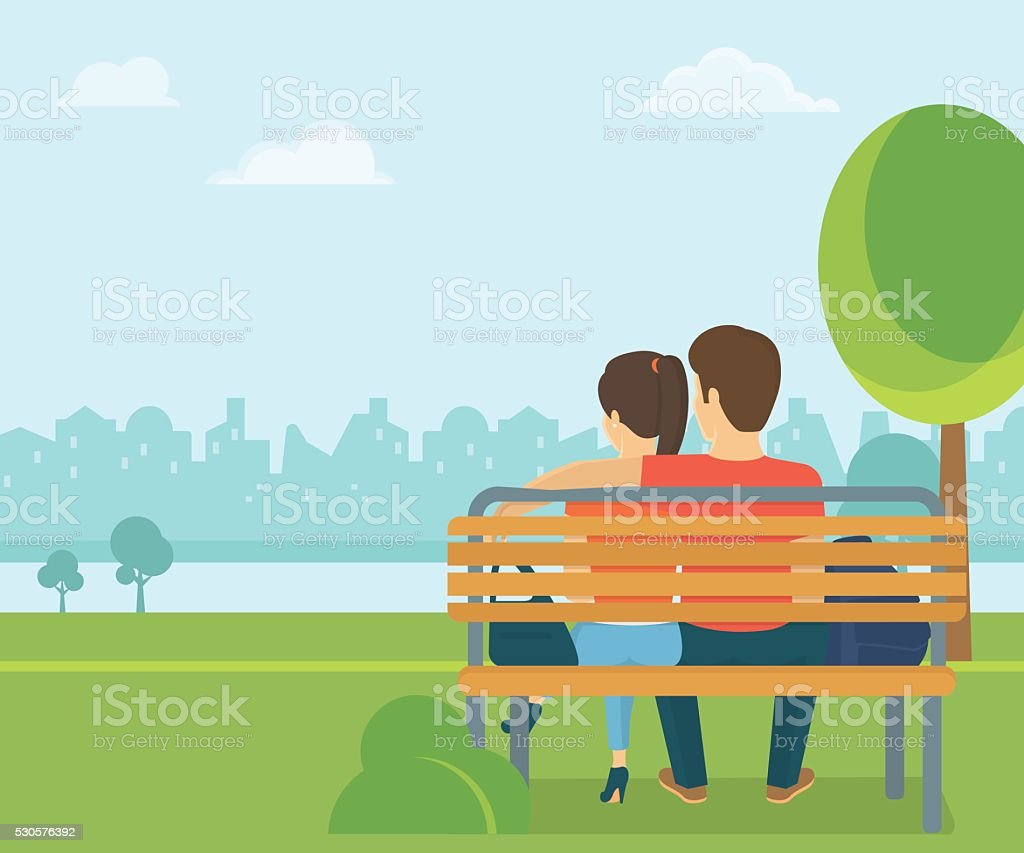 Couple outdoors in the park sitting on bench and looking vector art illustration