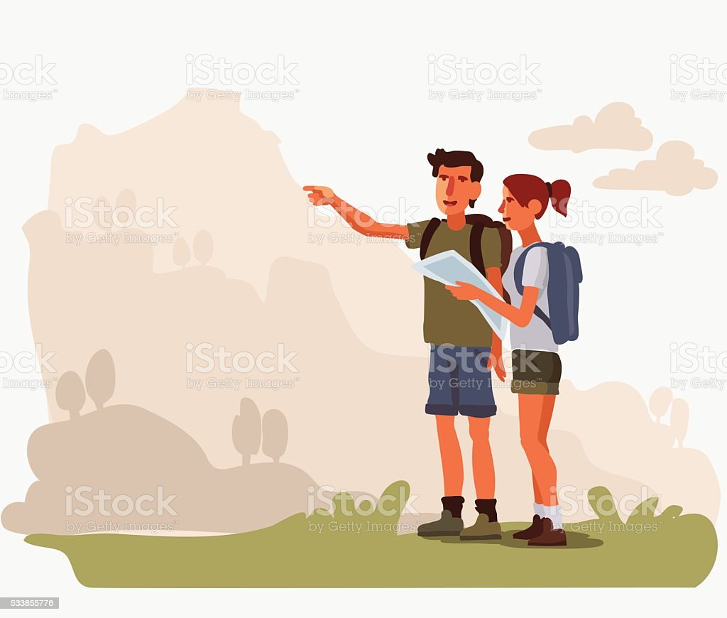 Couple planning the route and looking at the map vector art illustration