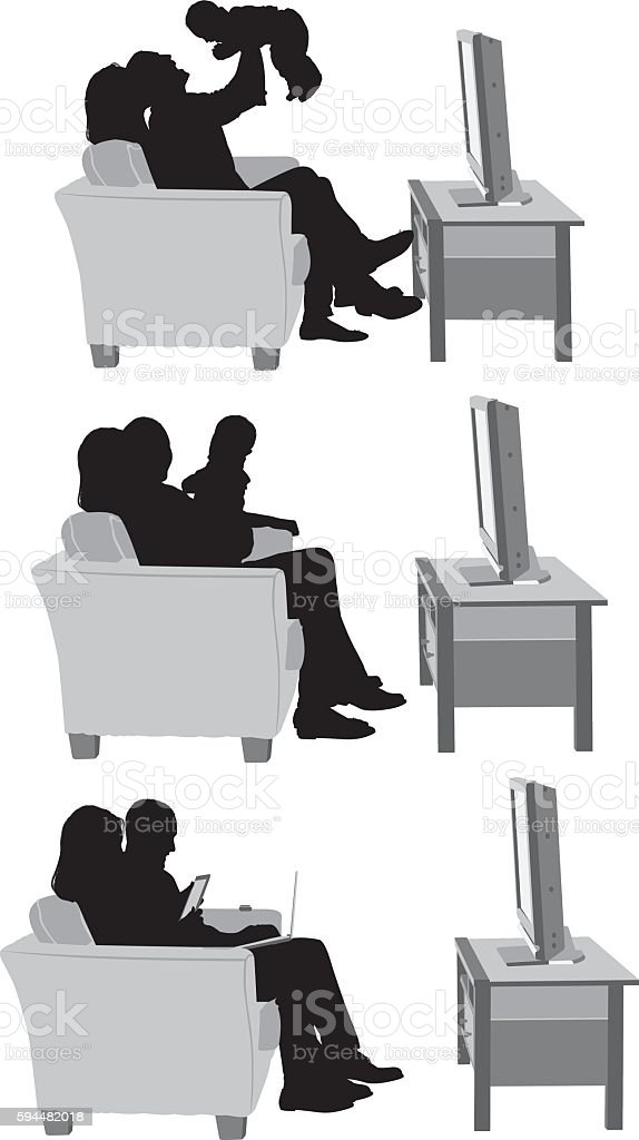 Couple playing with their baby vector art illustration