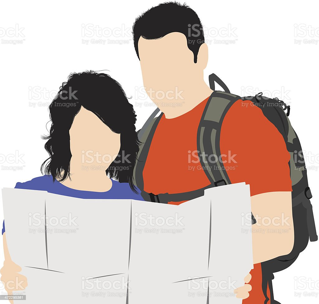 Couple reading a map royalty-free stock vector art