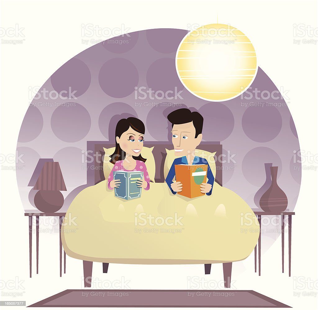Couple reading in bed royalty-free stock vector art