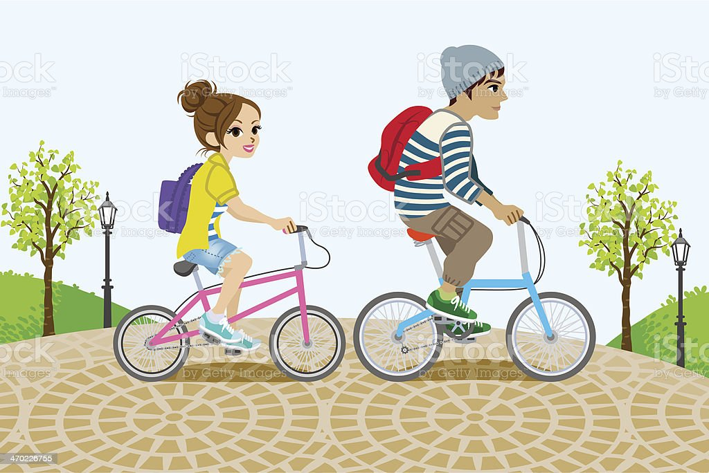 Couple Riding Bicycle in the Park royalty-free stock vector art