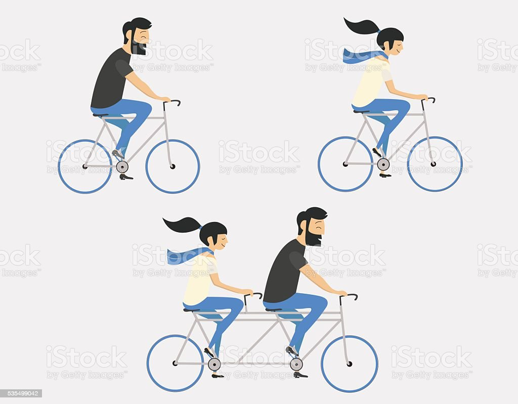 Couple riding bicycle vector art illustration