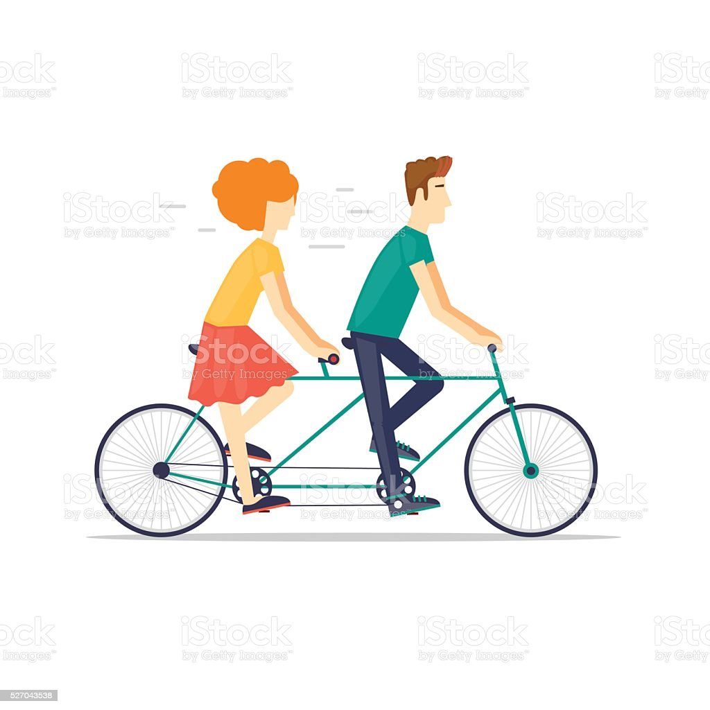 Couple riding tandem bicycle isolated. Walking, sports, traveling. vector art illustration