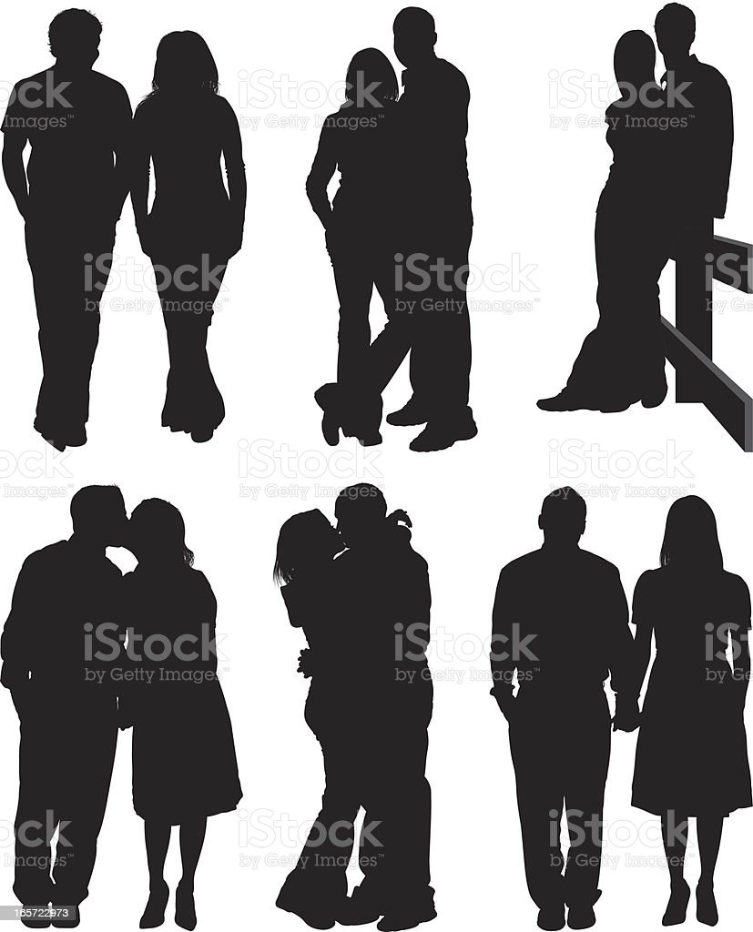 Couple romancing together vector art illustration