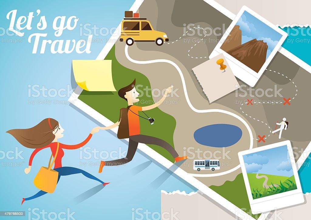 Couple run into Map, Adventure vector art illustration