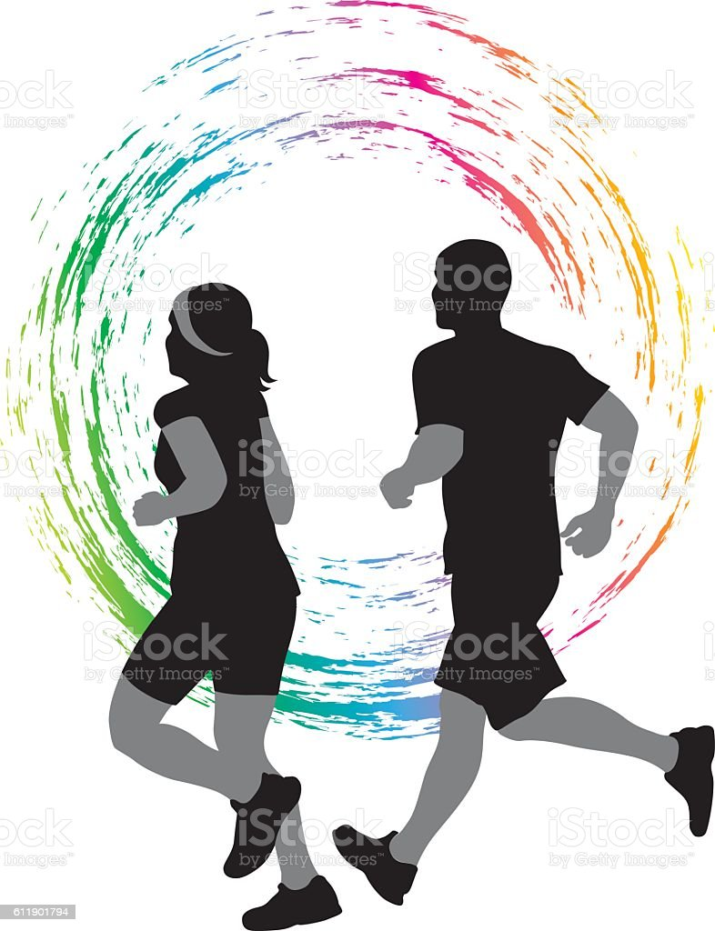 Couple Running Colored Icon Vector Silhouette vector art illustration