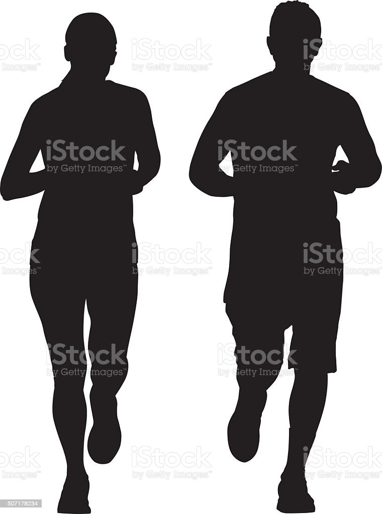 Couple Running Together vector art illustration