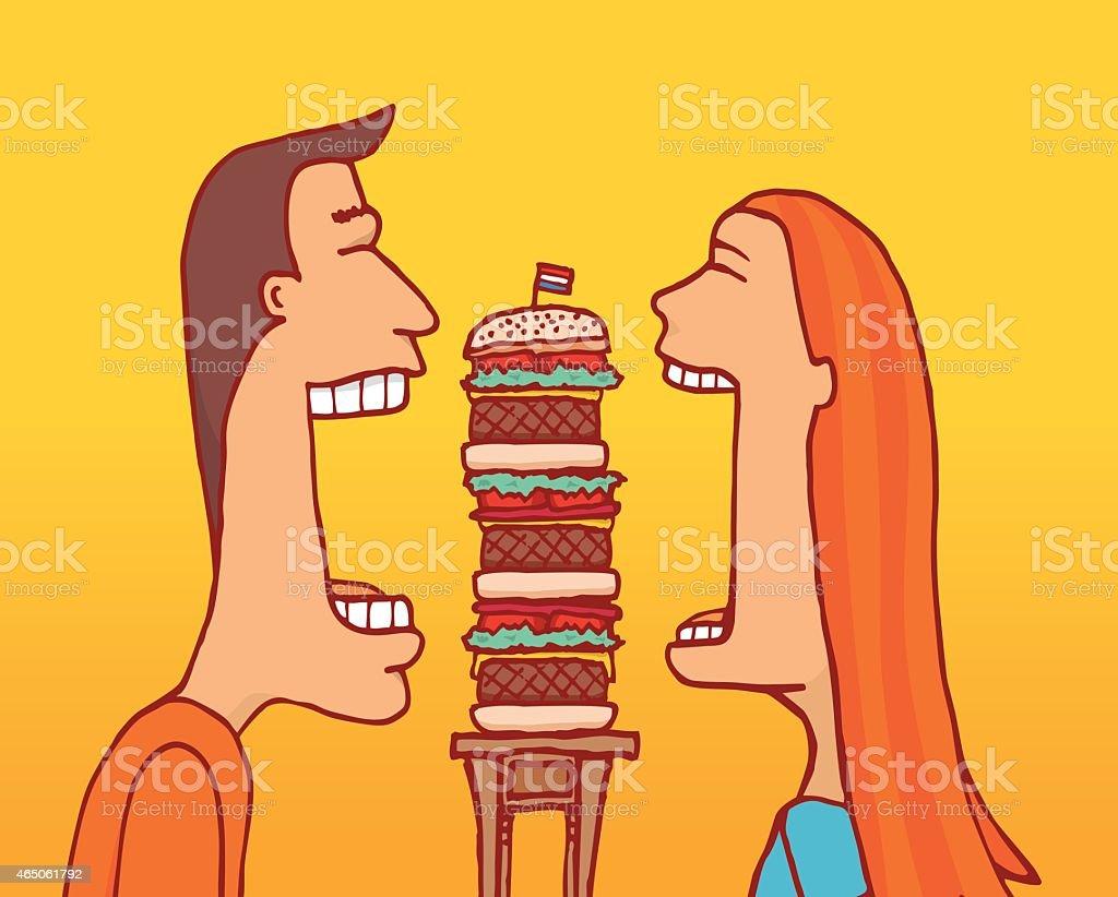 Couple sharing a huge hamburger vector art illustration