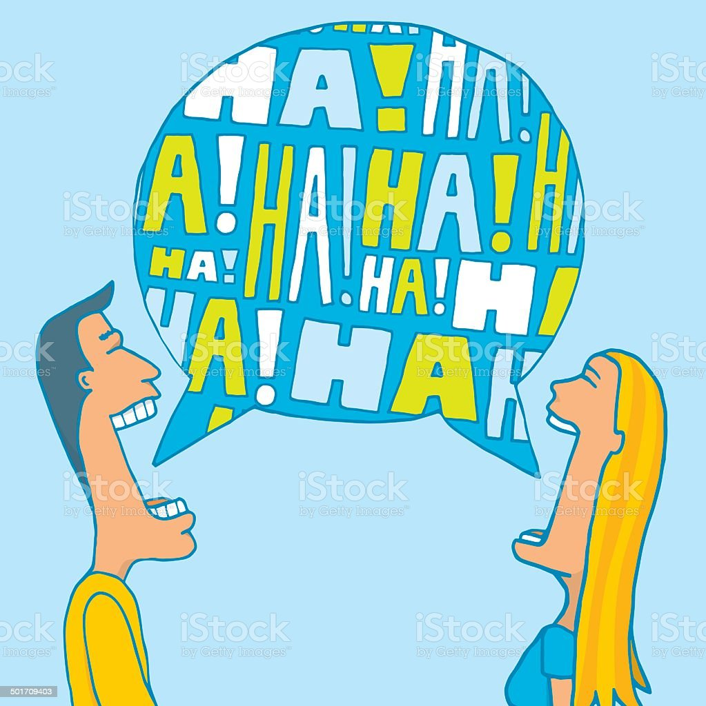 Couple sharing a laugh vector art illustration