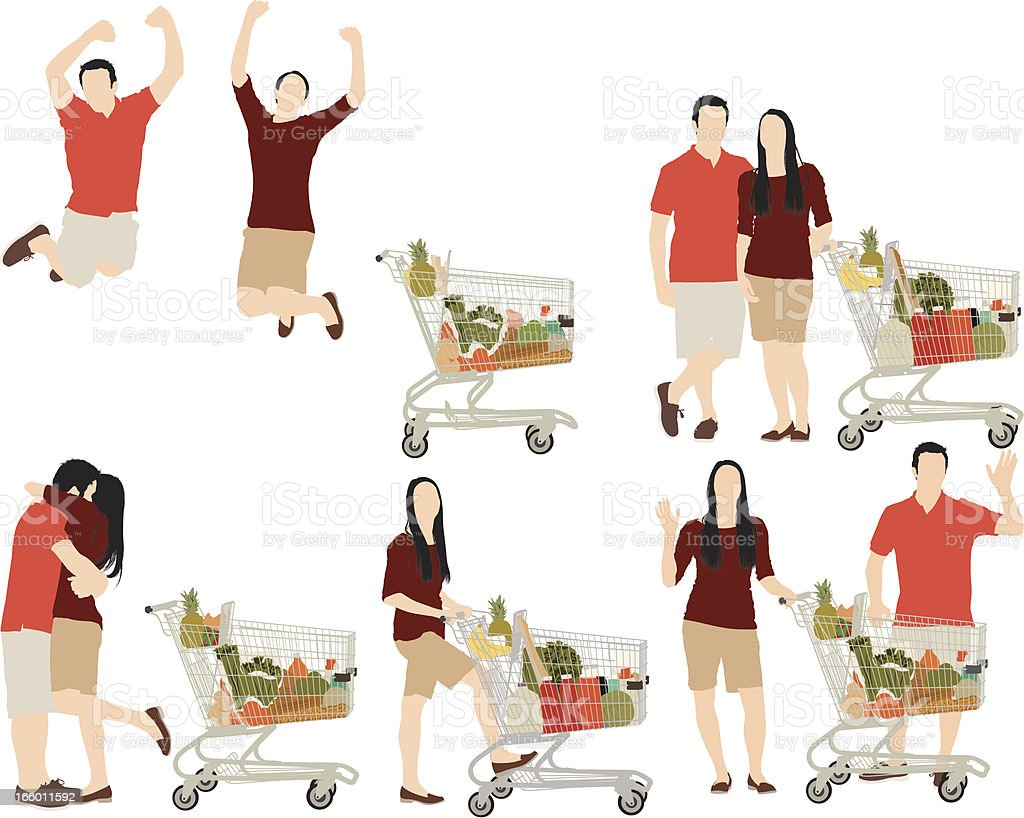 Couple shopping at supermarket royalty-free stock vector art