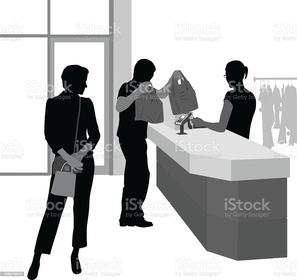 Couple Shopping For Clothes vector art illustration