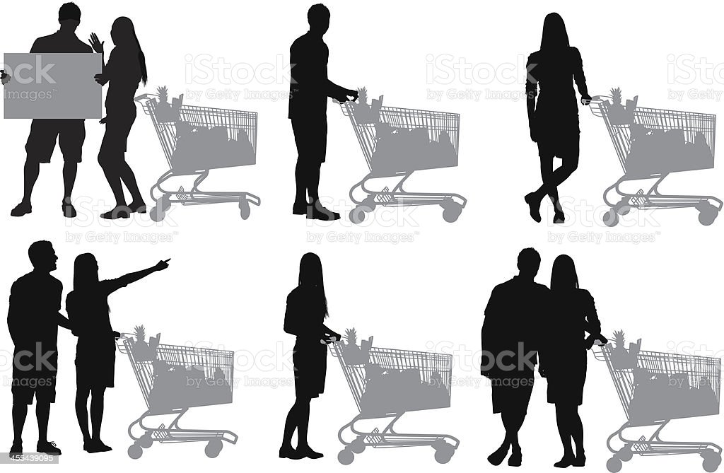 Couple shopping groceries royalty-free stock vector art