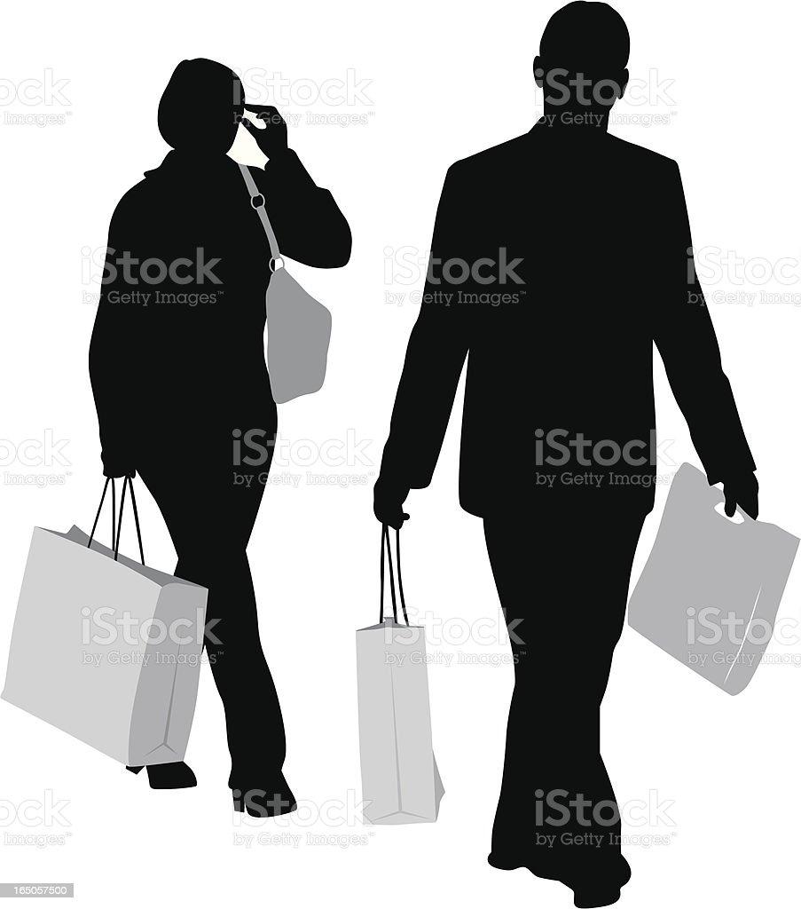 Couple Shopping Vector Silhouette royalty-free stock vector art