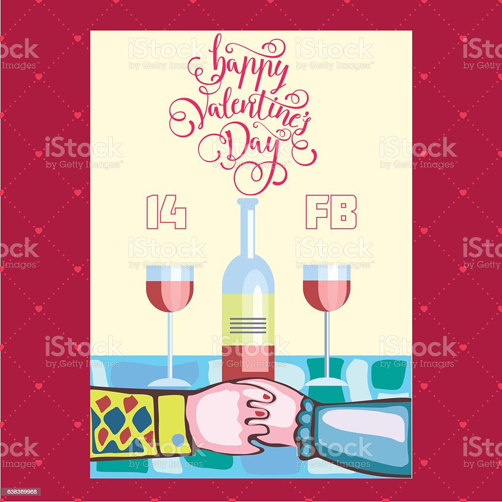 couple sitting at a romantic dinner Valentine's day vector art illustration