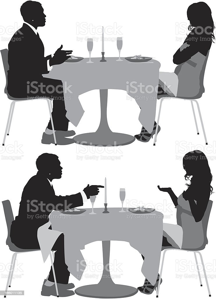 Couple sitting in a restaurant and arguing to each other vector art illustration