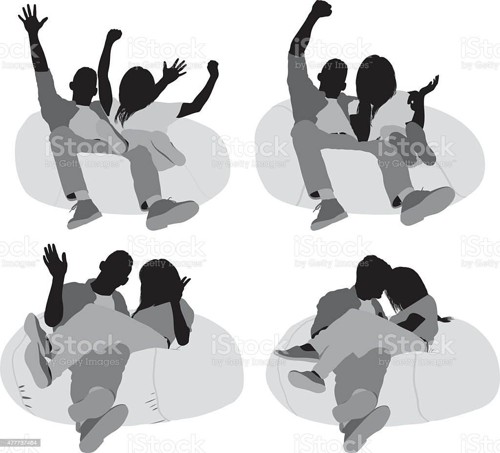 Couple sitting on bean bag vector art illustration
