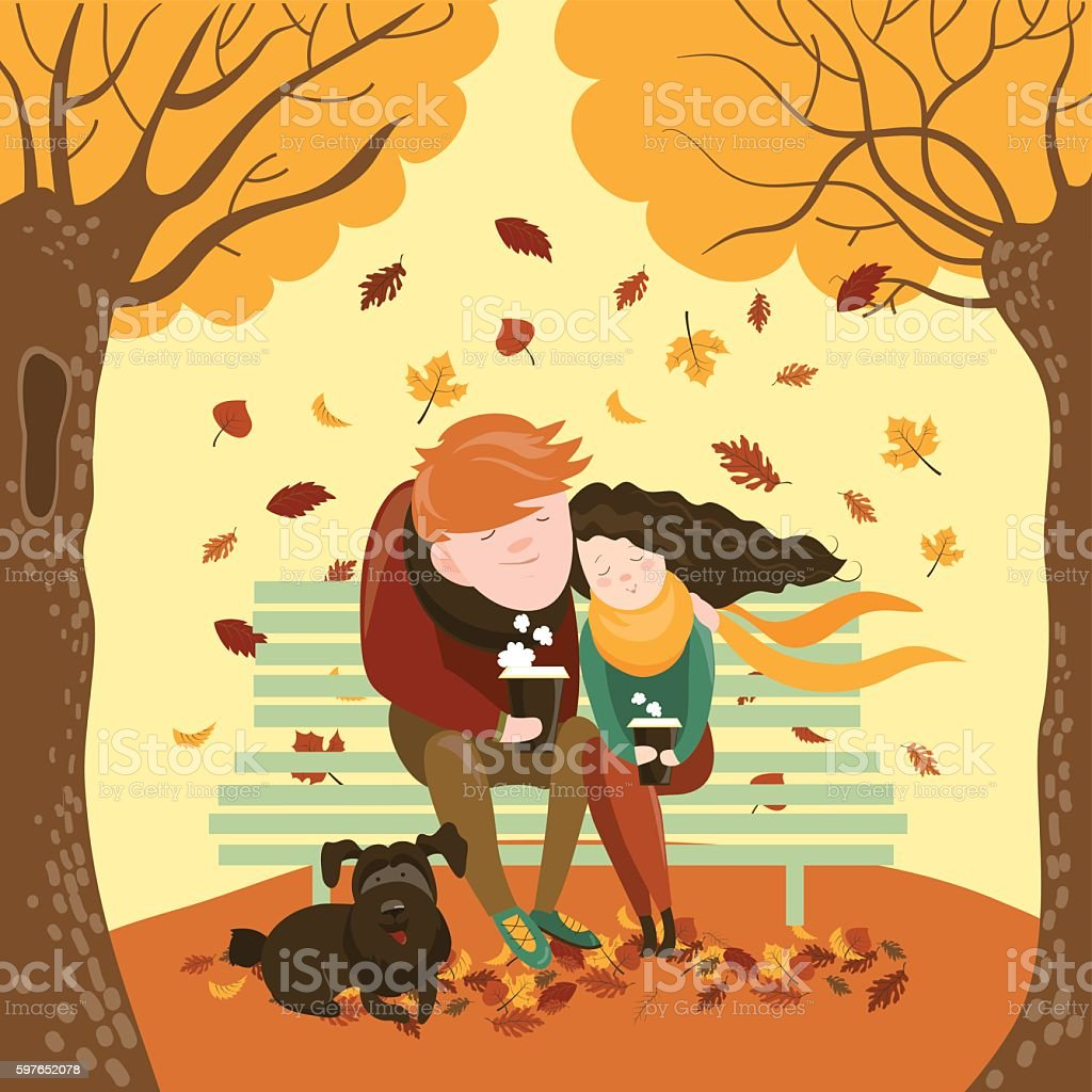Couple sitting on bench and drink coffee vector art illustration