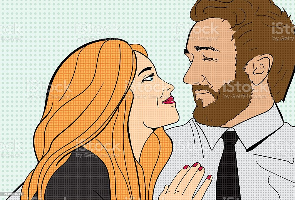 Couple snuggling on couch vector art illustration